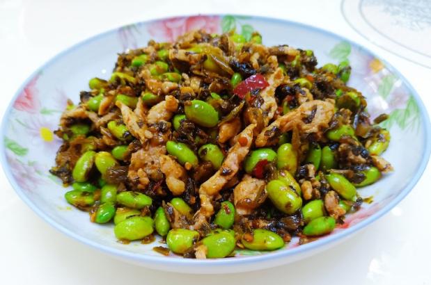 下饭菜:雪菜肉丝炒毛豆